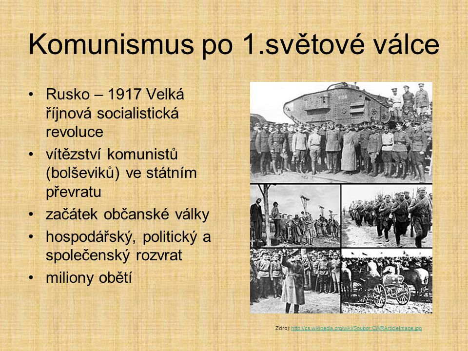 Komunismus po 1.světové válce