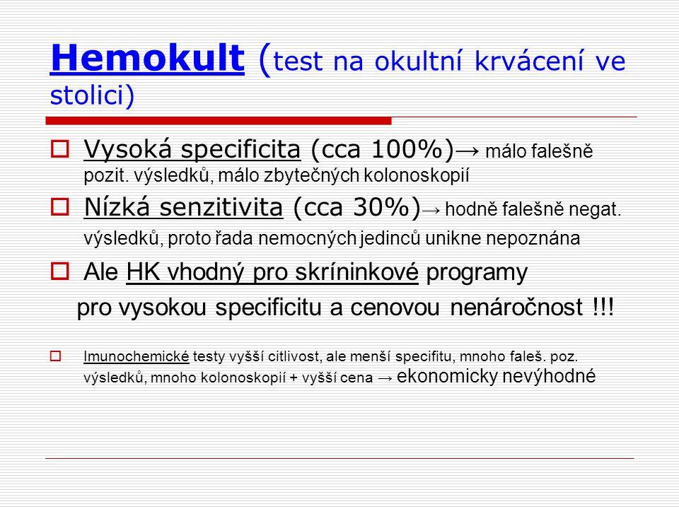 Hemokult (test na okultní krvácení ve stolici)