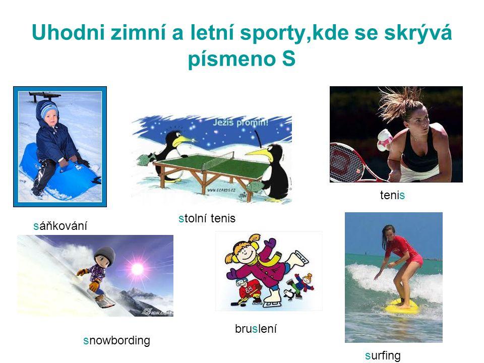 Uhodni zimní a letní sporty,kde se skrývá písmeno S