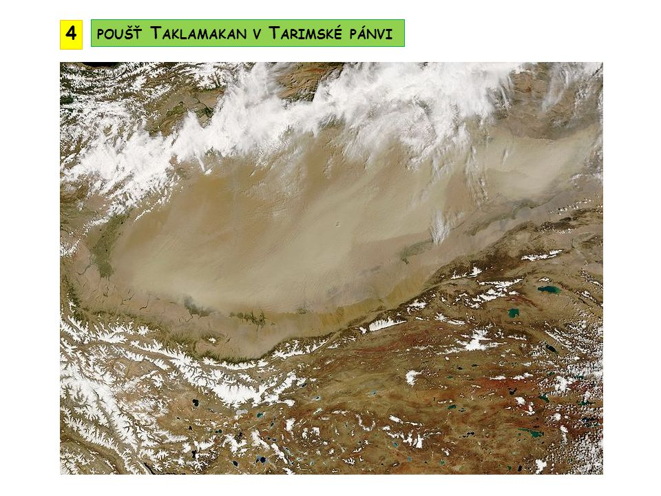 4 poušť Taklamakan v Tarimské pánvi