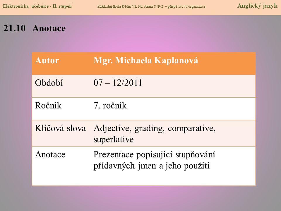 21.10 Anotace Autor Mgr. Michaela Kaplanová Období 07 – 12/2011 Ročník
