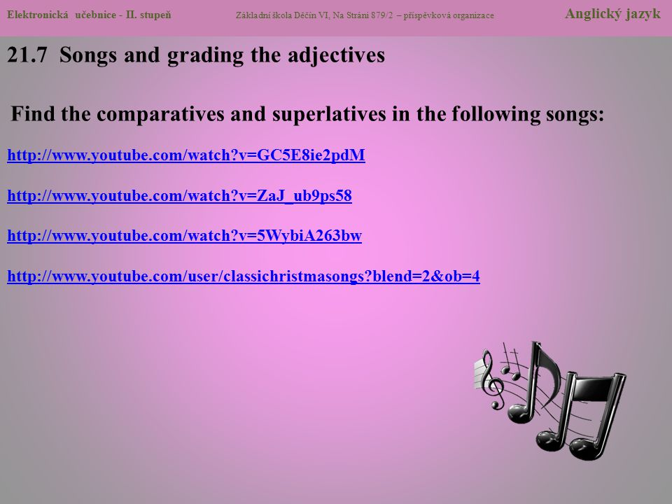 21.7 Songs and grading the adjectives