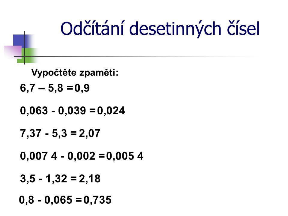 Odčítání desetinných čísel