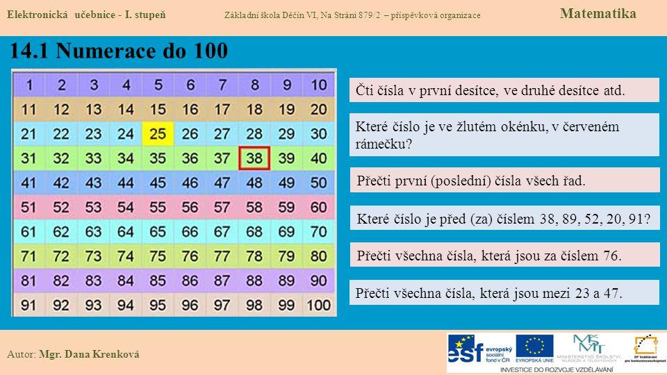 14.1 Numerace do 100 Čti čísla v první desítce, ve druhé desítce atd.