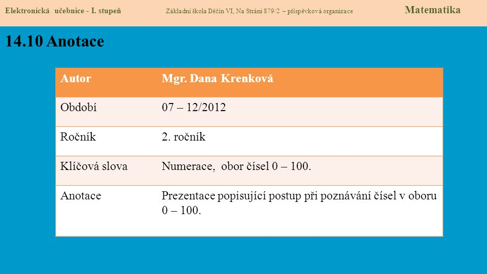 14.10 Anotace Autor Mgr. Dana Krenková Období 07 – 12/2012 Ročník