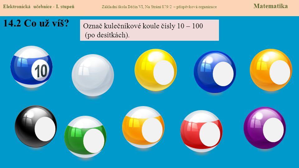 14.2 Co už víš Označ kulečníkové koule čísly 10 – 100 (po desítkách).