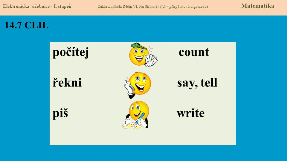počítej count řekni say, tell piš write 14.7 CLIL