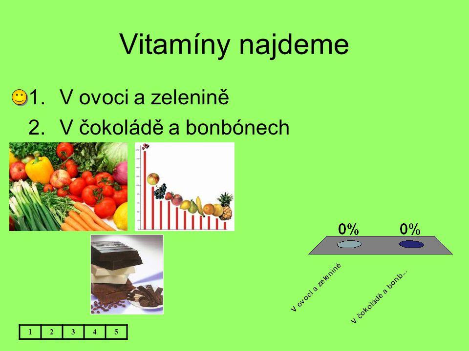 Vitamíny najdeme V ovoci a zelenině V čokoládě a bonbónech 1 2 3 4 5