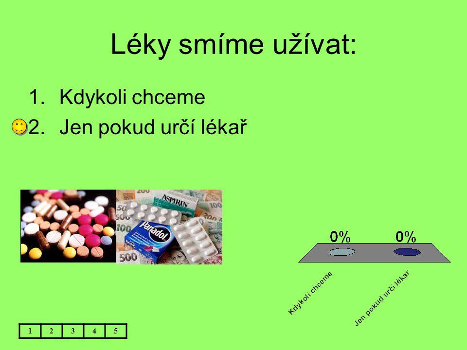 Léky smíme užívat: Kdykoli chceme Jen pokud určí lékař 1 2 3 4 5