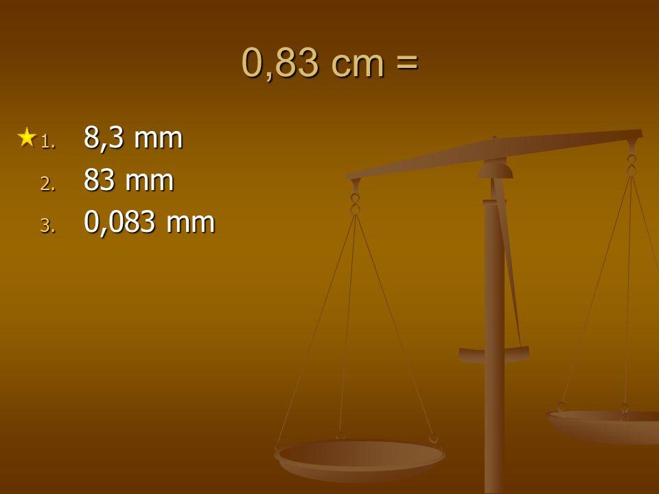 0,83 cm = 8,3 mm 83 mm 0,083 mm 1 2 3 4 5