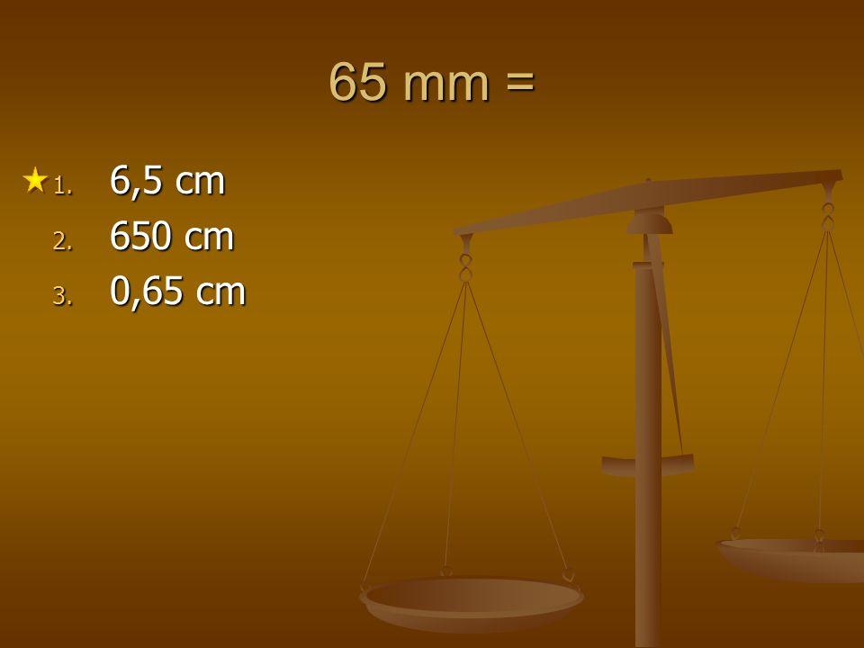 65 mm = 6,5 cm 650 cm 0,65 cm 1 2 3 4 5
