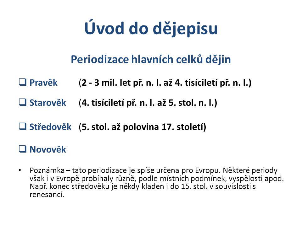 Periodizace hlavních celků dějin