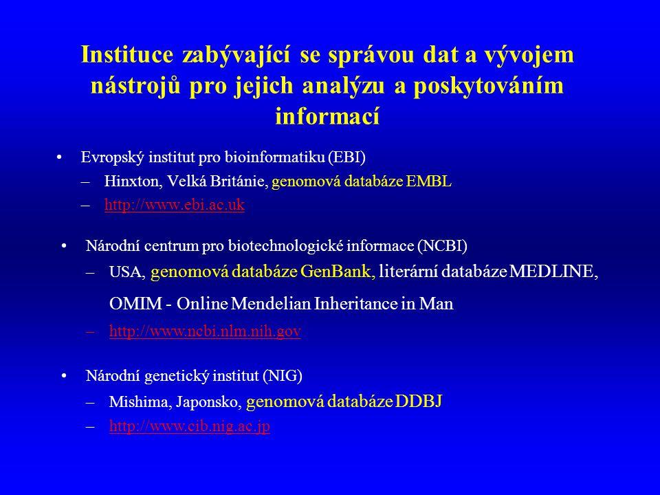 Instituce zabývající se správou dat a vývojem nástrojů pro jejich analýzu a poskytováním informací