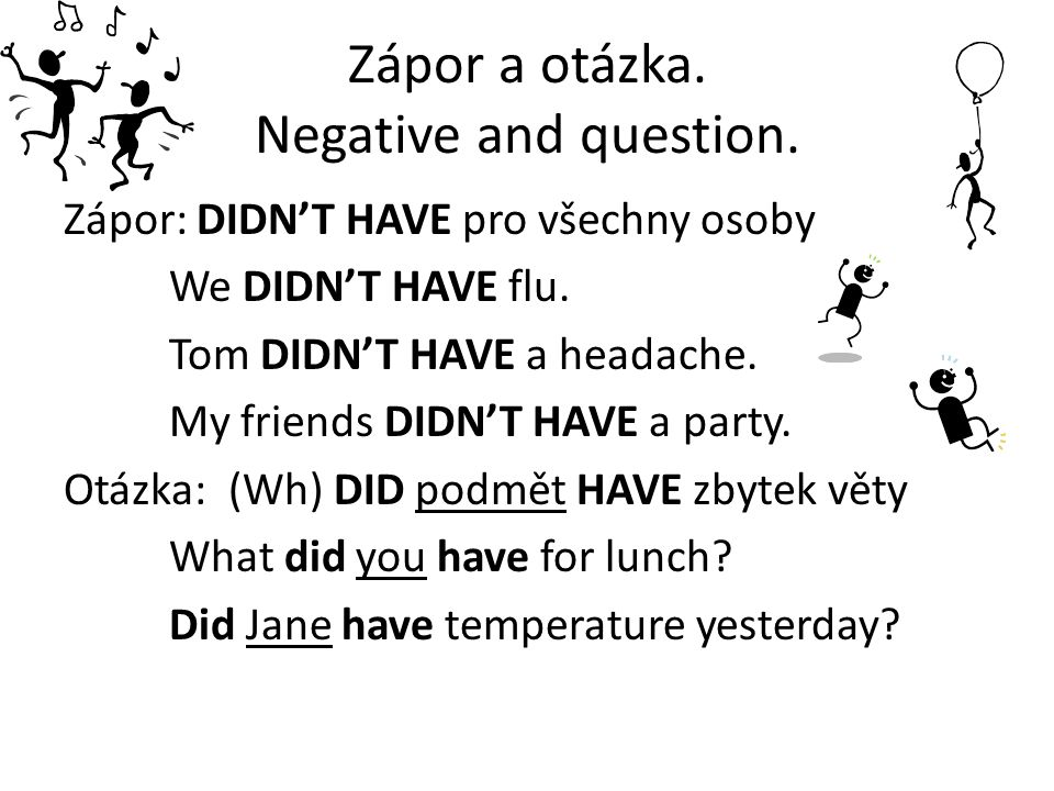 Zápor a otázka. Negative and question.