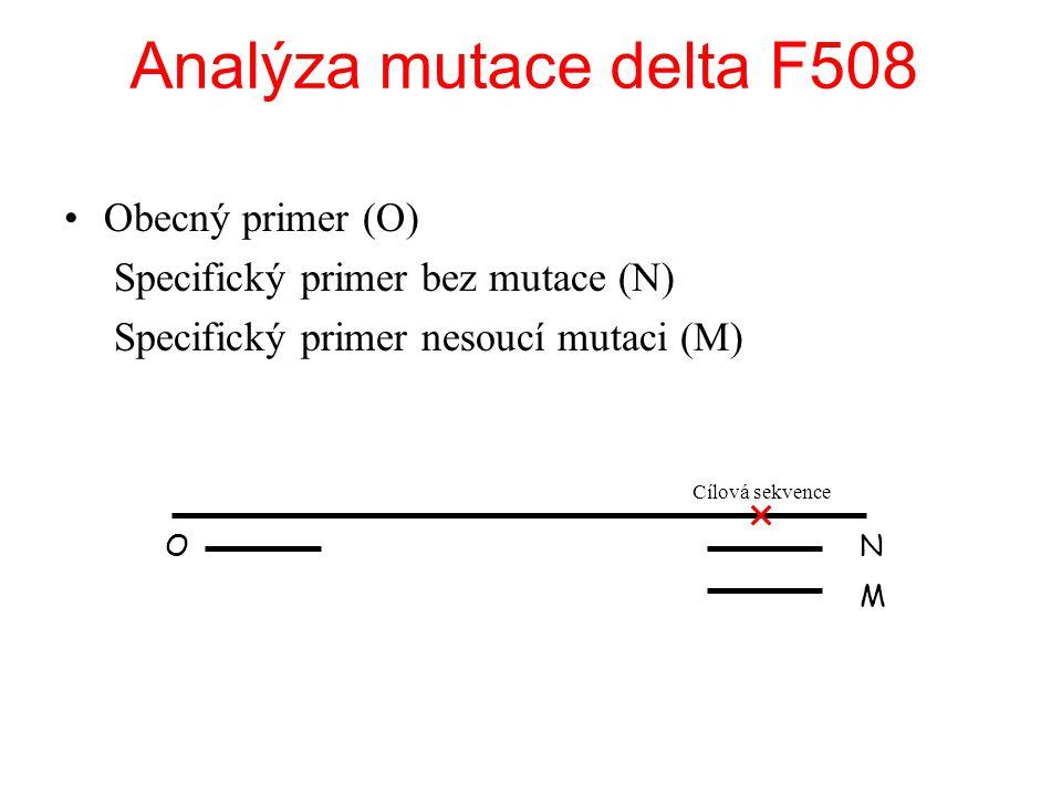 Analýza mutace delta F508 Obecný primer (O)