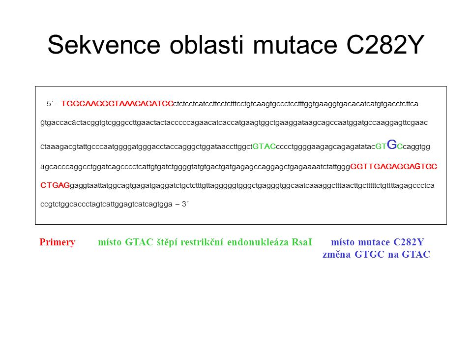 Sekvence oblasti mutace C282Y