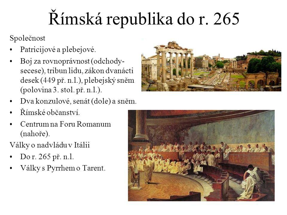 Římská republika do r. 265 Společnost Patricijové a plebejové.