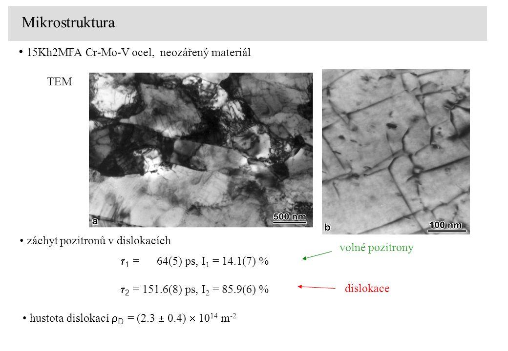Mikrostruktura 15Kh2MFA Cr-Mo-V ocel, neozářený materiál TEM