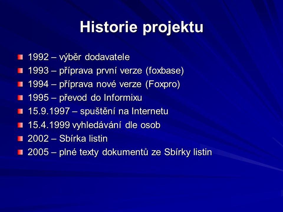Historie projektu 1992 – výběr dodavatele