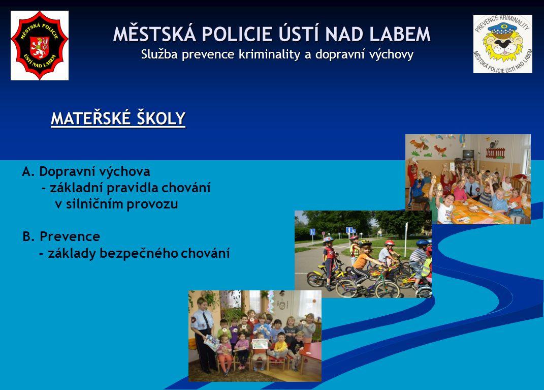MATEŘSKÉ ŠKOLY MĚSTSKÁ POLICIE ÚSTÍ NAD LABEM A. Dopravní výchova