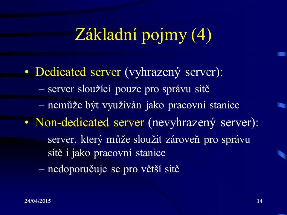 Základní pojmy (4) Dedicated server (vyhrazený server):