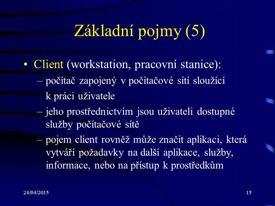 Základní pojmy (5) Client (workstation, pracovní stanice):