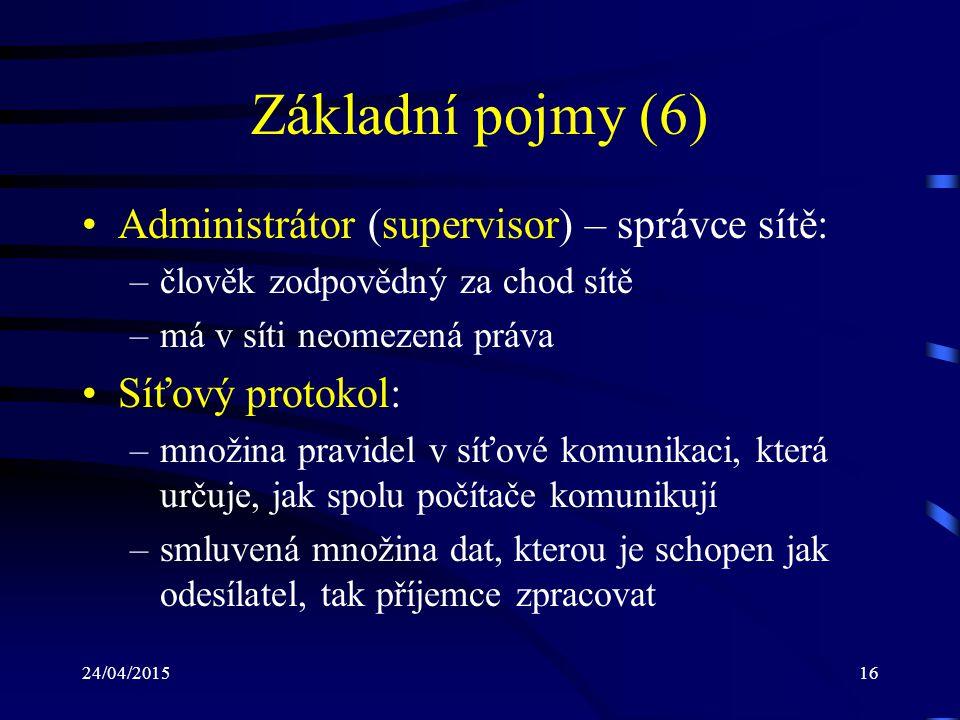Základní pojmy (6) Administrátor (supervisor) – správce sítě: