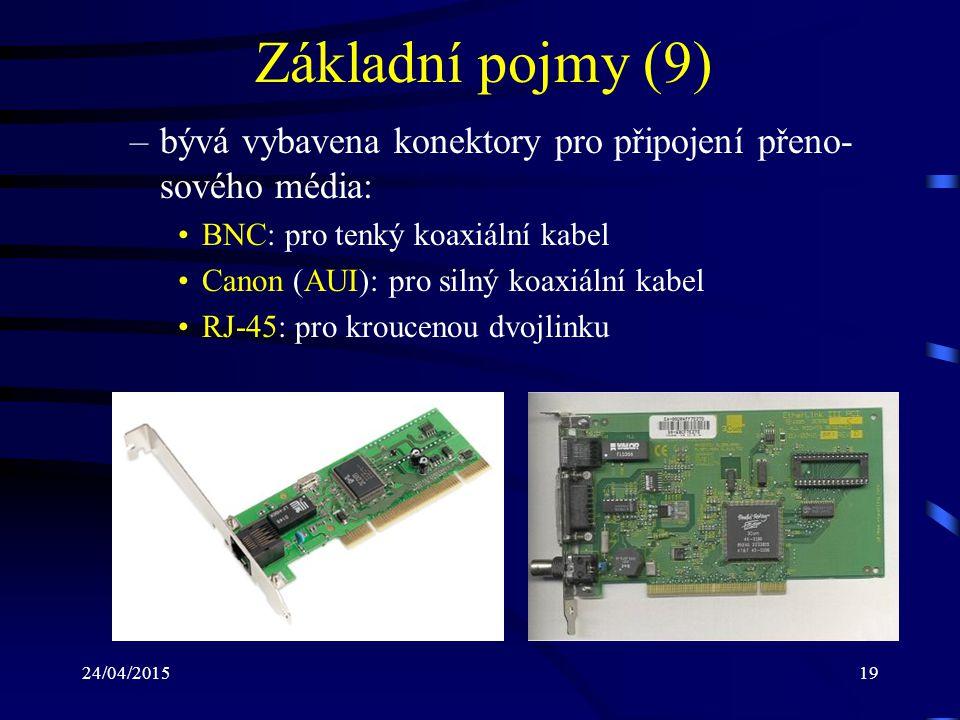 Základní pojmy (9) bývá vybavena konektory pro připojení přeno-sového média: BNC: pro tenký koaxiální kabel.