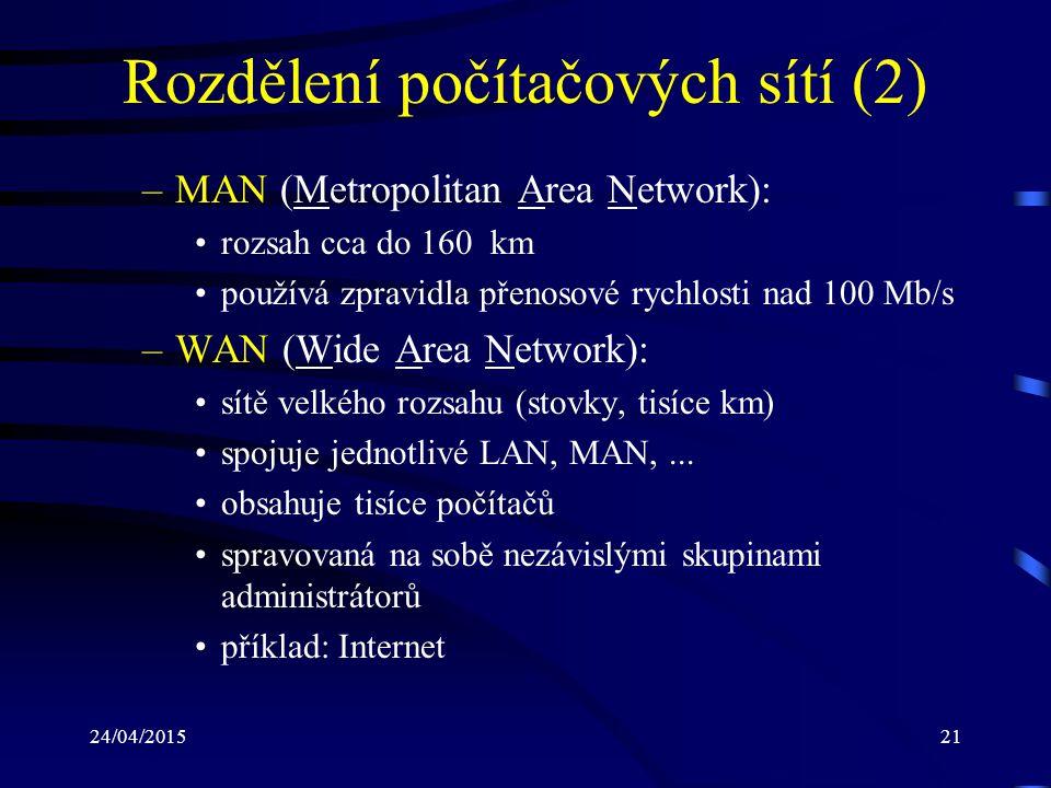 Rozdělení počítačových sítí (2)