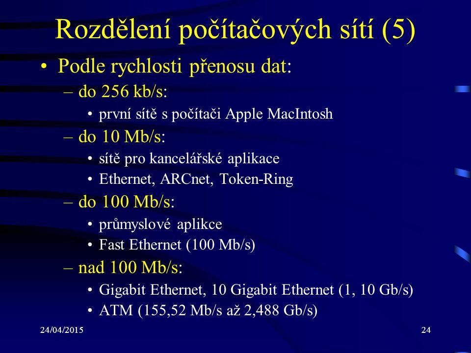 Rozdělení počítačových sítí (5)