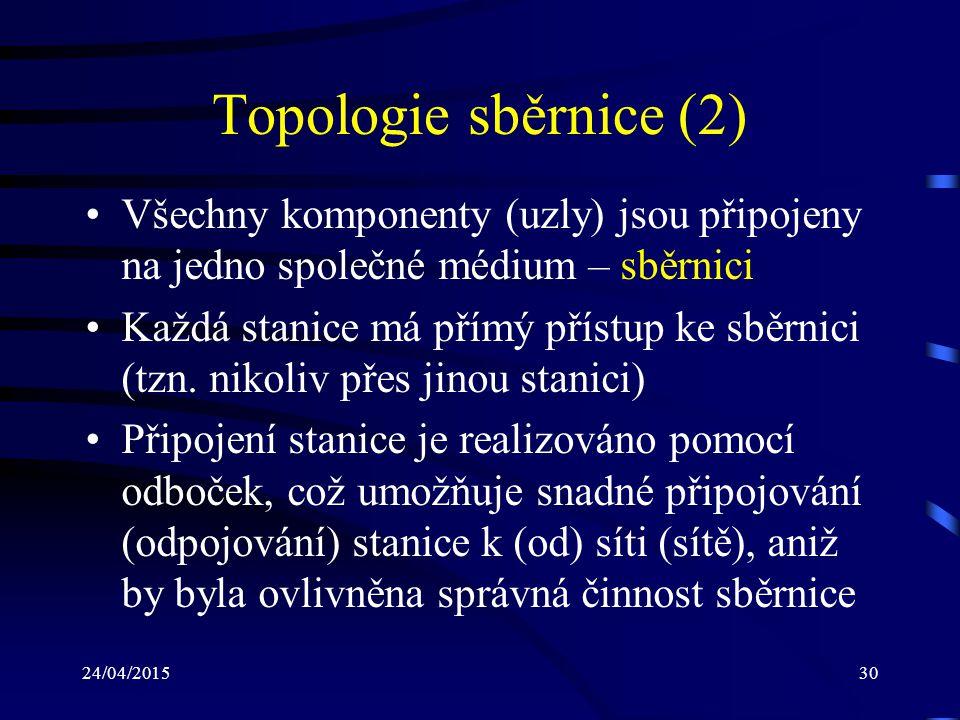 Topologie sběrnice (2) Všechny komponenty (uzly) jsou připojeny na jedno společné médium – sběrnici.