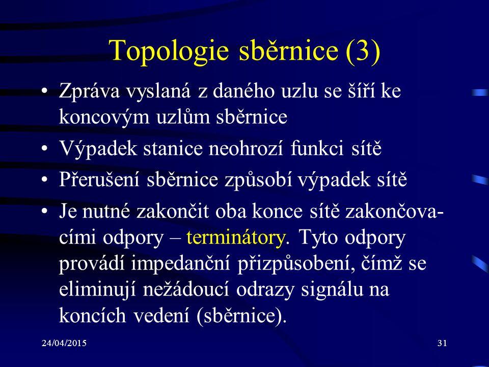 Topologie sběrnice (3) Zpráva vyslaná z daného uzlu se šíří ke koncovým uzlům sběrnice. Výpadek stanice neohrozí funkci sítě.