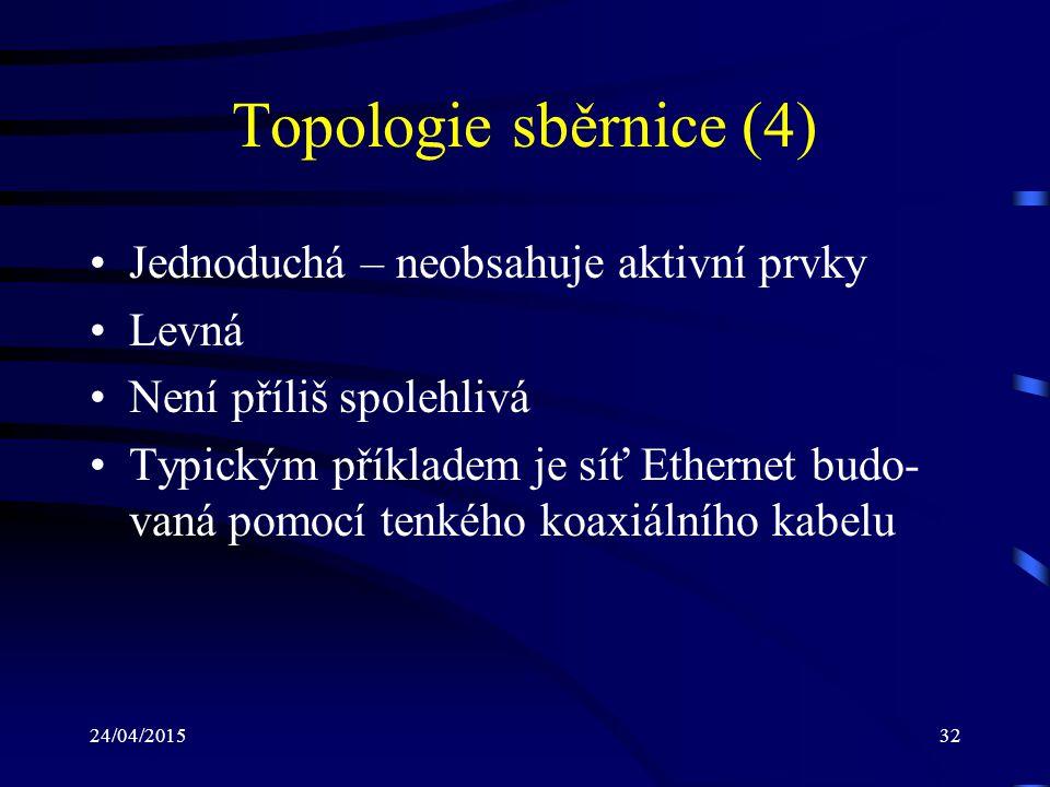 Topologie sběrnice (4) Jednoduchá – neobsahuje aktivní prvky Levná