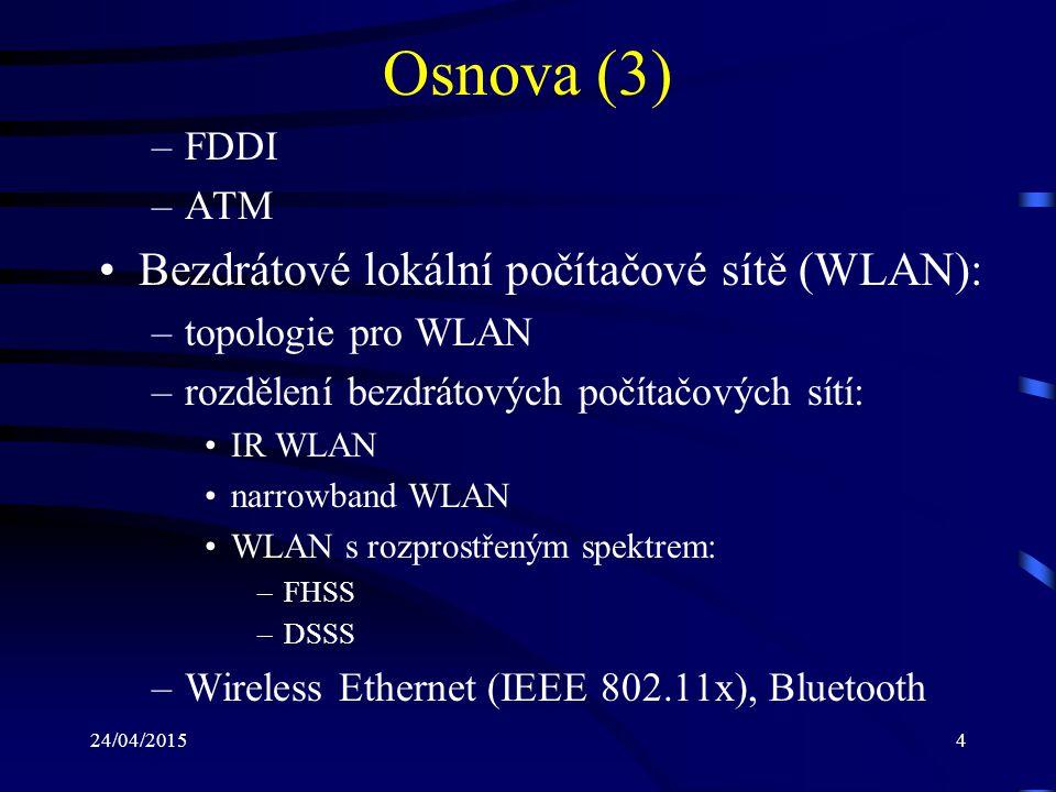 Osnova (3) Bezdrátové lokální počítačové sítě (WLAN): FDDI ATM