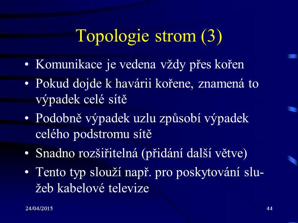 Topologie strom (3) Komunikace je vedena vždy přes kořen