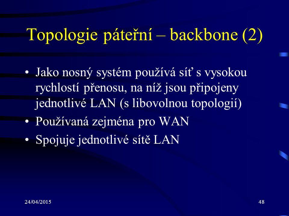 Topologie páteřní – backbone (2)