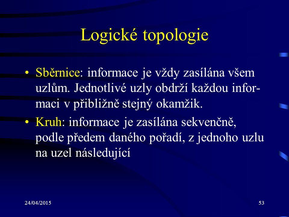 Logické topologie Sběrnice: informace je vždy zasílána všem uzlům. Jednotlivé uzly obdrží každou infor-maci v přibližně stejný okamžik.
