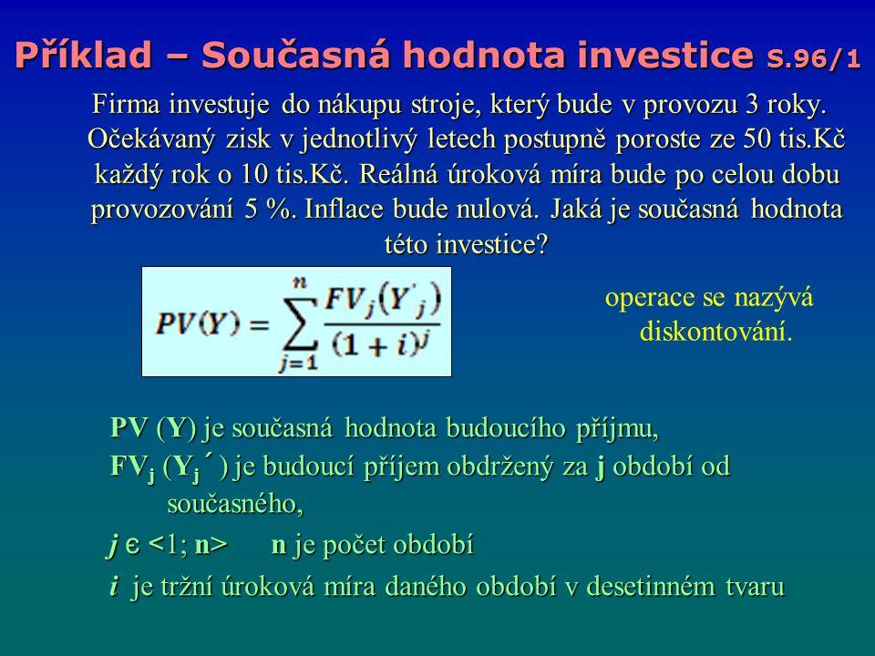 Příklad – Současná hodnota investice S.96/1