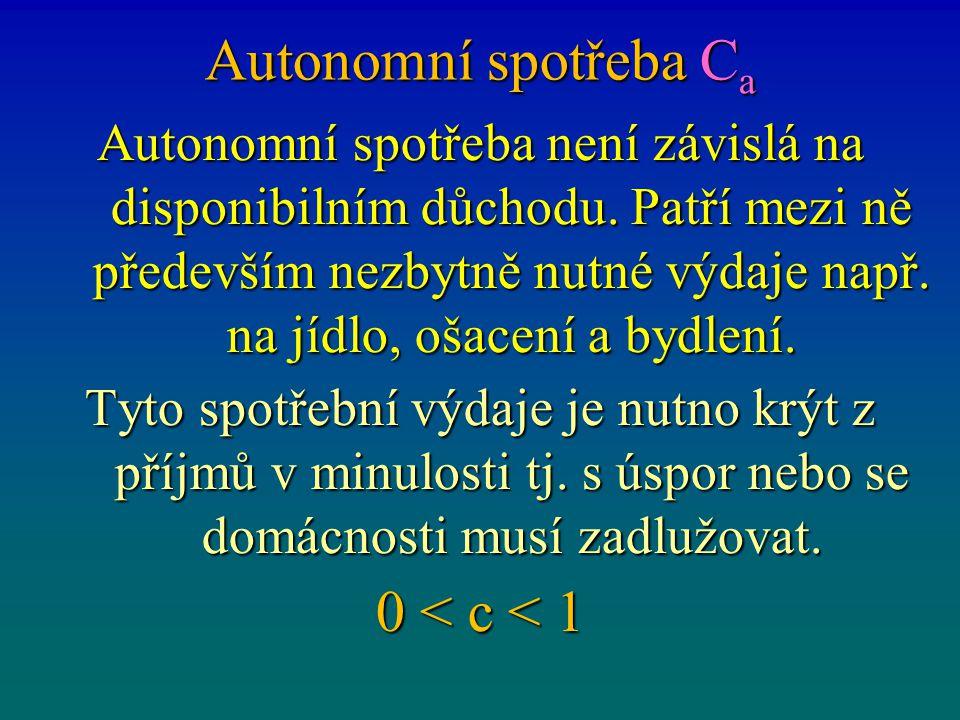Autonomní spotřeba Ca 0 < c < 1