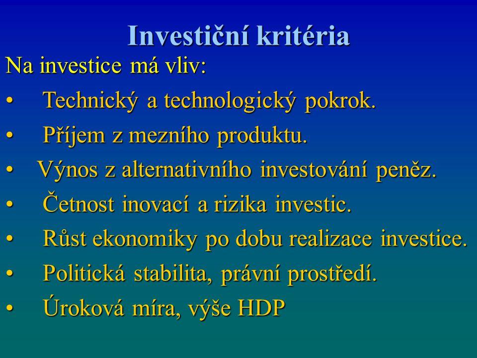 Investiční kritéria Na investice má vliv: