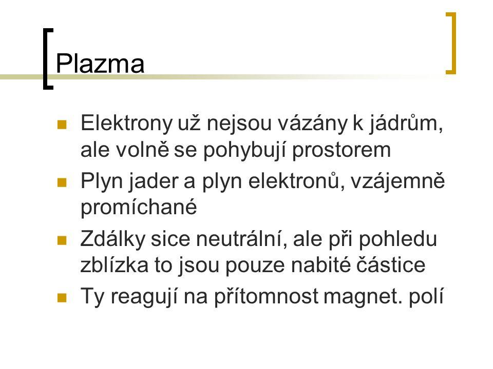 Plazma Elektrony už nejsou vázány k jádrům, ale volně se pohybují prostorem. Plyn jader a plyn elektronů, vzájemně promíchané.