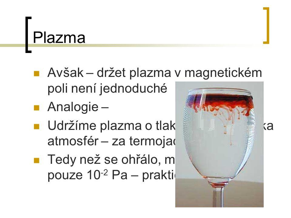 Plazma Avšak – držet plazma v magnetickém poli není jednoduché