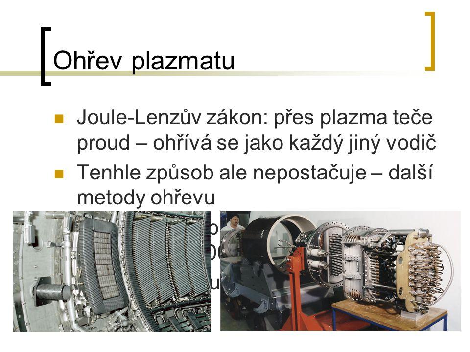Ohřev plazmatu Joule-Lenzův zákon: přes plazma teče proud – ohřívá se jako každý jiný vodič. Tenhle způsob ale nepostačuje – další metody ohřevu.