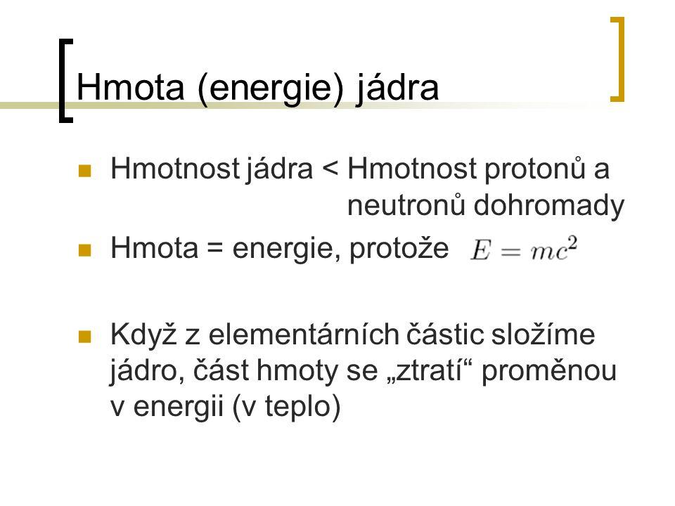 Hmota (energie) jádra Hmotnost jádra < Hmotnost protonů a neutronů dohromady. Hmota = energie, protože.