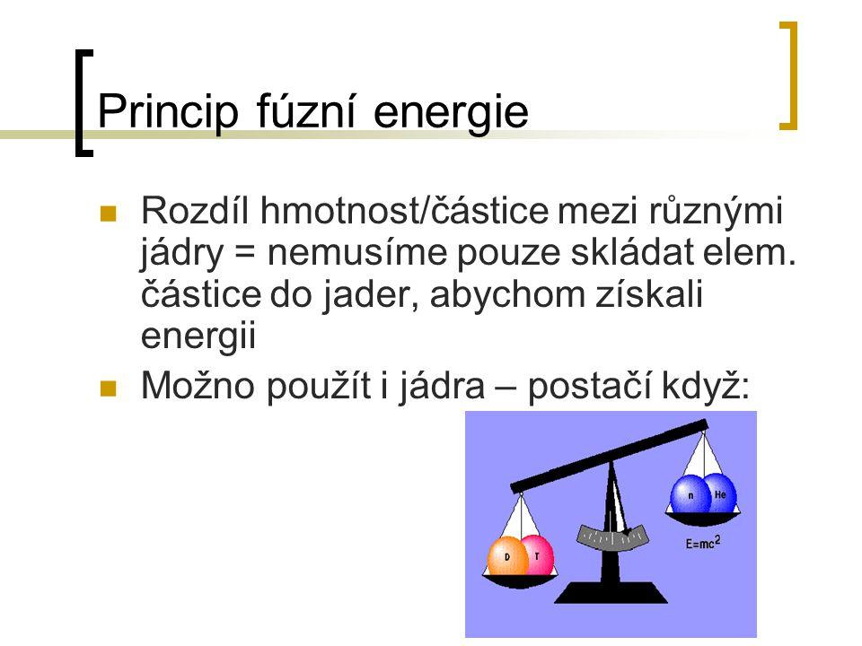 Princip fúzní energie Rozdíl hmotnost/částice mezi různými jádry = nemusíme pouze skládat elem. částice do jader, abychom získali energii.