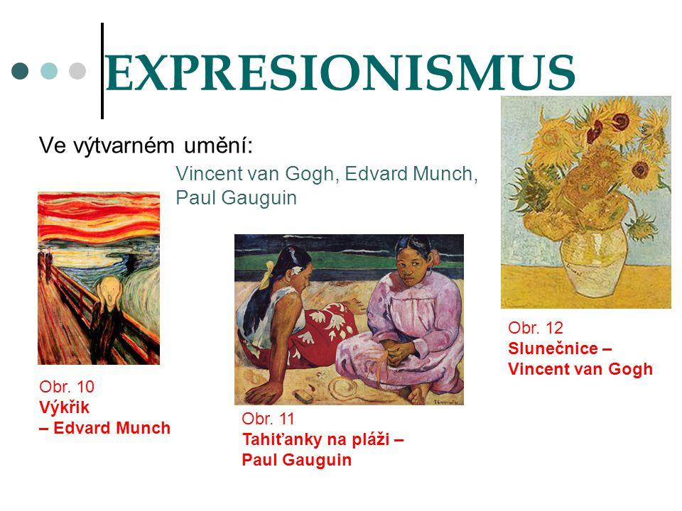 EXPRESIONISMUS Ve výtvarném umění: Vincent van Gogh, Edvard Munch,