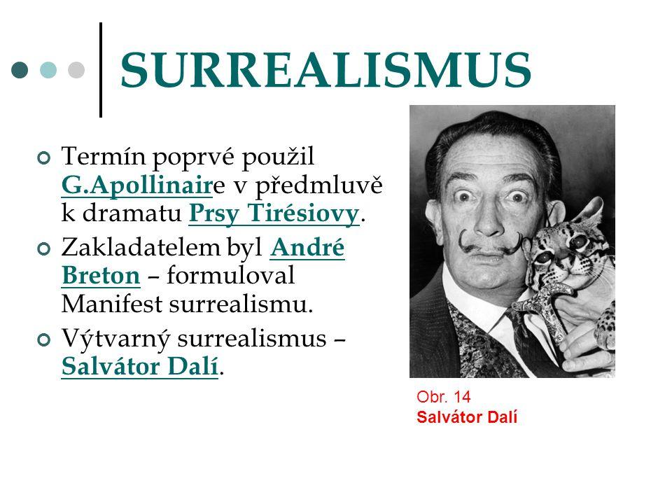 SURREALISMUS Termín poprvé použil G.Apollinaire v předmluvě k dramatu Prsy Tirésiovy.