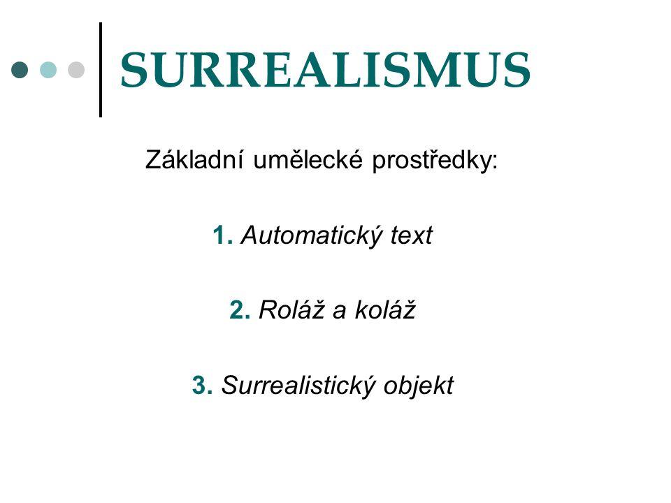 SURREALISMUS Základní umělecké prostředky: 1. Automatický text