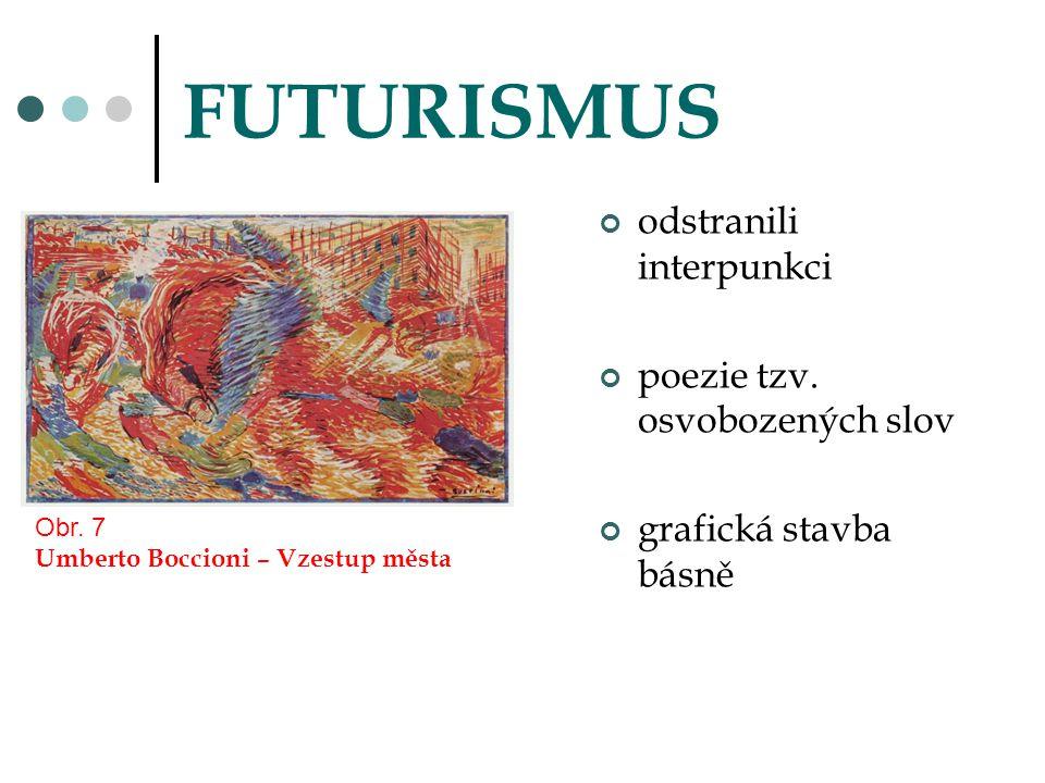 FUTURISMUS odstranili interpunkci poezie tzv. osvobozených slov