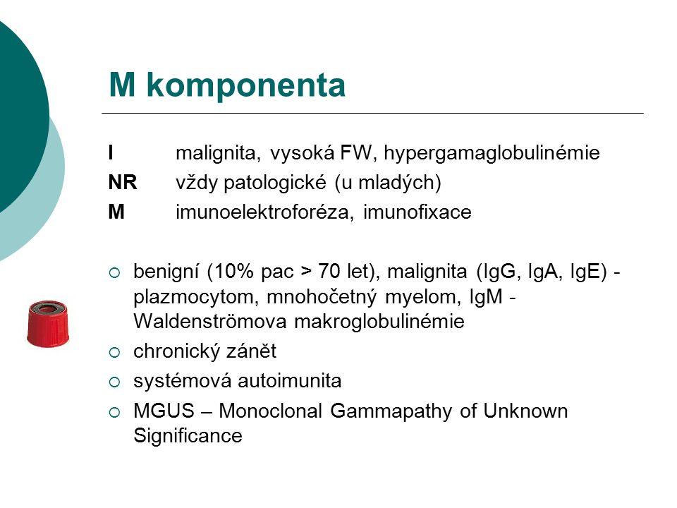 M komponenta I malignita, vysoká FW, hypergamaglobulinémie